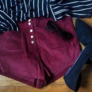 Burgundy High Waisted Corduroy Shorts